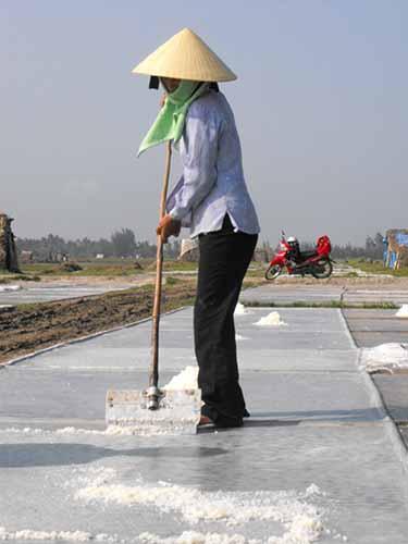 Sản xuất muối theo phương pháp thủ công ở Nghệ AnẢnh: Thùy Dương