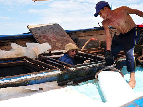 Ngư dân tàu cá QNg 96093 TS chuẩn bị tiếp tục ra khơi