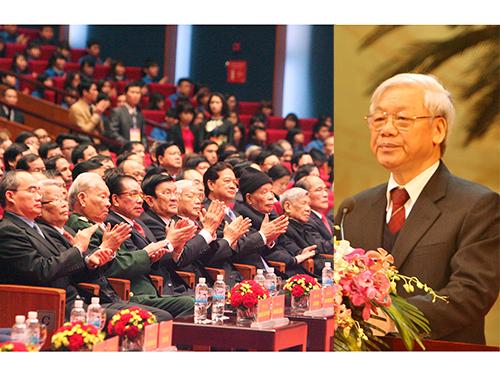 Tổng Bí thư Nguyễn Phú Trọng đọc diễn văn tại lễ kỷ niệm 85 năm ngày thành lập Đảng Cộng sản Việt Nam, tổ chức ngày 2-2  ở Hà NộiẢnh: TTXVN