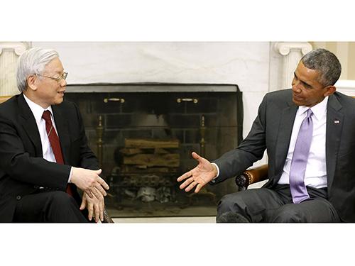 Cuộc gặp gỡ của Tổng Bí thư Nguyễn Phú Trọng với Tổng thống Mỹ Barack Obama mang tính lịch sử, đưa quan hệ 2 nước lên tầm cao mớiẢnh: Reuters