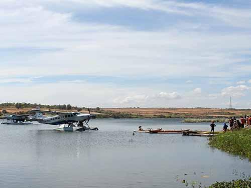 Tỉnh Bình Thuận khai trương dịch vụ thủy phi cơ phục vụ du khách trong ngày 3-1Ảnh: TTXVN