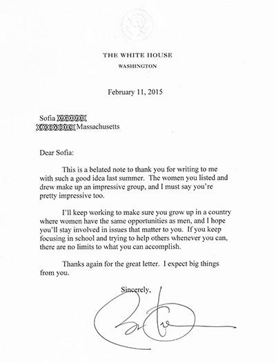 Thư hồi đáp của Tổng thống Obama. Ảnh: Time