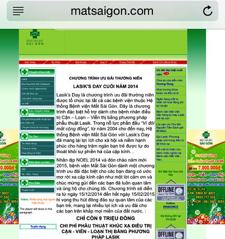 Trang web của Bệnh viện Mắt Sài Gòn