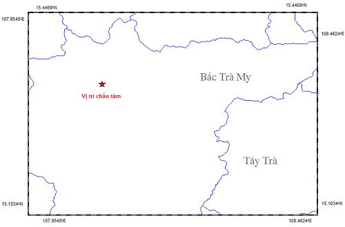 Bản đồ chấn tâm trận động đất sáng 3-12 Ảnh: Viện Vật lý địa cầu