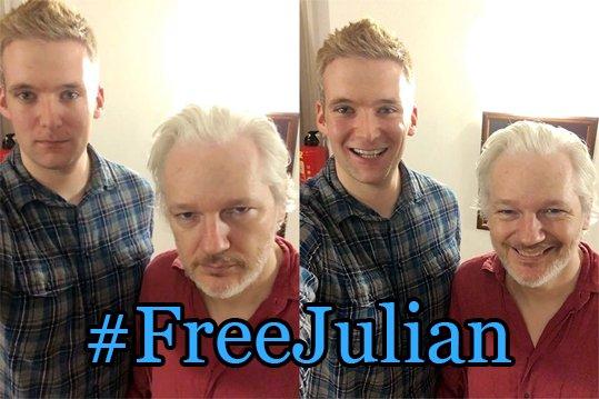 Ông Julian Assange (phải). Ảnh: TWITTER