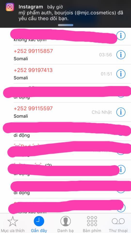 Một đầu số của Somali gọi vào người dùng ở Việt Nam