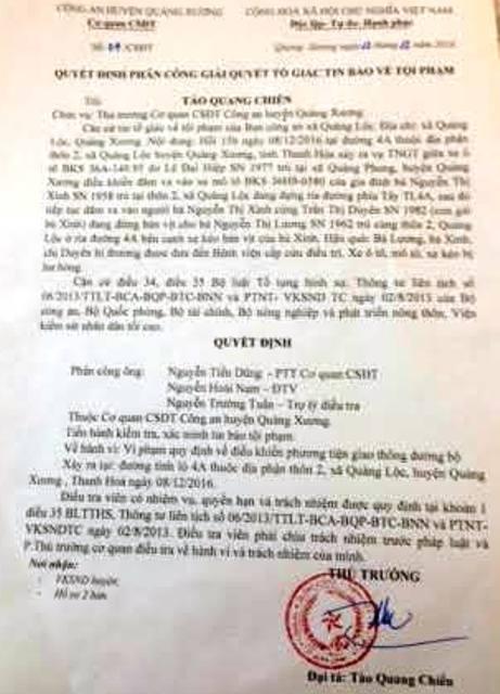 Quyết định giải quyết vụ việc của Công an huyện Quảng Xương