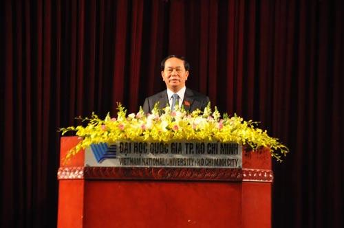 Chủ tịch nước Trần Đại Quang phát biểu trong lễ khai khóa 2016 của ĐHQG TP HCM