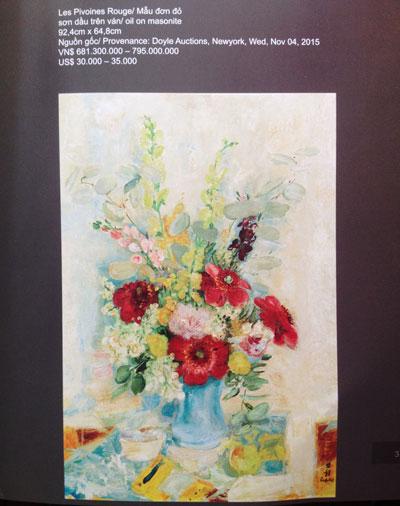 """Bức """"Hoa mẫu đơn"""" của họa sĩ Lê Phổ được mua với giá 40.000 USD"""
