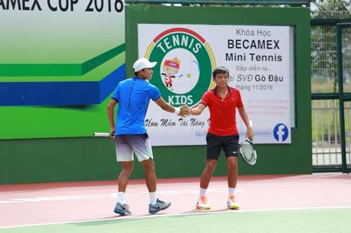 Hoàng Nam (phải) đứng trước cơ hội lần thứ nhì vô địch đôi tại một giải thuộc hệ thống Futures Ảnh: NGỌC LINH