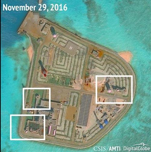 Ảnh chụp từ vệ tinh mới nhất cho thấy Trung Quốc tăng cường quân sự hóa ở biển Đông Ảnh: REUTERS