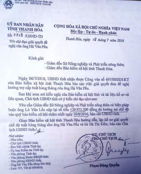 Văn bản được chính ông Phạm Đăng Quyền, Phó chủ tịch UBND tỉnh Thanh Hóa ký chỉ đạo cơ quan chức năng yêu cầu ông Lến trả lại số tiền 120 triệu nhưng ông Lến vẫn cù nhầy không trả