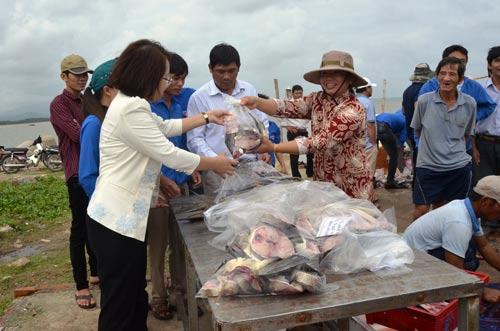 UBND huyện Bình Sơn, tỉnh Quảng Ngãi hỗ trợ người dân tiêu thụ cá bớp