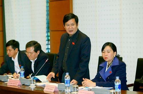 Đại biểu Quốc hội tỉnh Bình Định Lê Công Nhường góp ý dự án Luật Sửa đổi, bổ sung phụ lục 4 Luật Đầu tư về danh mục ngành nghề đầu tư kinh doanh có điều kiện Ảnh: TTXVN