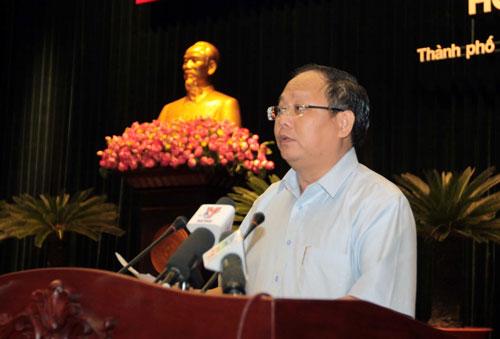 Phó Bí thư Thường trực Thành ủy TP HCM Tất Thành Cang phát biểu khai mạc hội nghị Ảnh: THANH VŨ