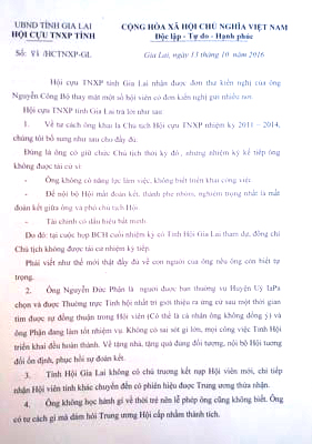 Văn bản trả lời của Hội Cựu TNXP tỉnh Gia Lai