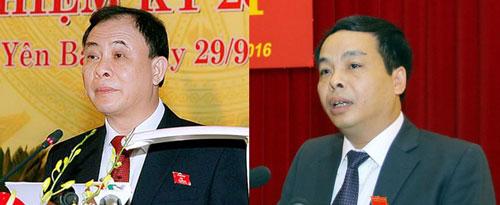 Bí thư Tỉnh ủy Yên Bái Phạm Duy Cường (trái) và Chủ tịch HĐND tỉnh Ngô Ngọc Tuấn