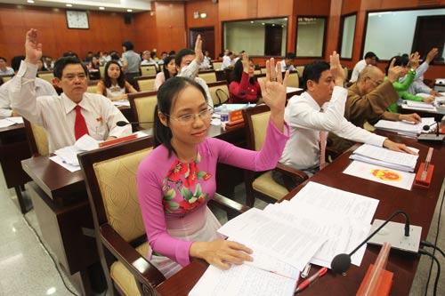 Các đại biểu biểu quyết thông qua một tờ trình Ảnh: HOÀNG TRIỀU
