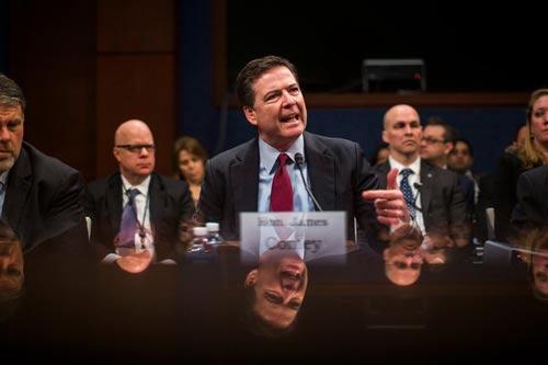 Ông James Comey trong một phiên điều trần trước Quốc hội Mỹ Ảnh: EPA