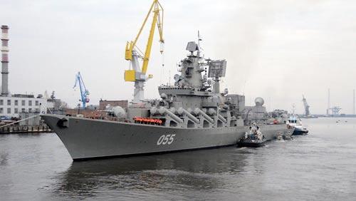 """Tàu chiến đẳng cấp số 1 """"Nguyên soái Ustinov"""" vừa được hiện đại hóa của hải quân Nga Ảnh: ZVEZDOCHKA"""