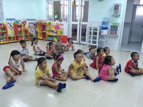 Con công nhân học ở Trường Mầm non Hoa Đào (phường Linh Trung, quận Thủ Đức, TP HCM)