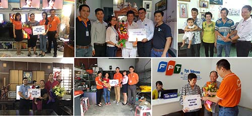 Đại diện FPT Telecom đến thăm và tặng quà tri ân đến gia đình khách hàng
