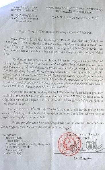 Công văn huyện Nghĩa Đàn đề nghị xử lý ông Lê Viết Sỹ và ông Nguyễn Hữu Sâm - Ảnh: Thành Tiến