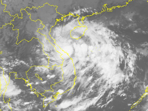 Ảnh mây vệ tinh áp thấp nhiệt đới - Nguồn: Trung tâm dự báo khí tượng thủy văn Trung ương