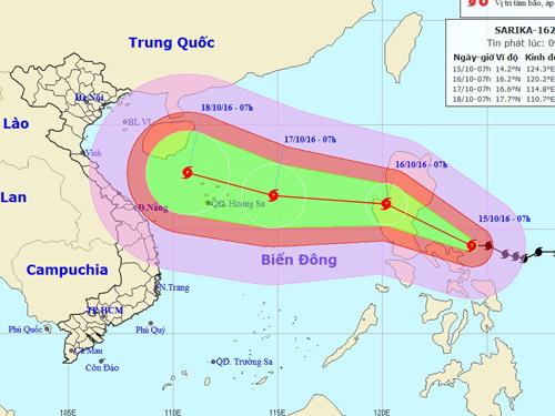 Vị trí và dự báo đường đi của bão Sarika - Nguồn: Trung tâm Dự báo khí tượng Thủy văn trung ương