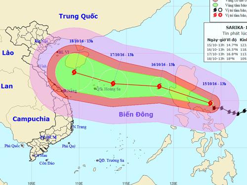Vị trí và dự báo hướng di chuyển của bão Sarika-Nguồn: Trung tâm Dự báo khí tượng Thủy văn trung ương