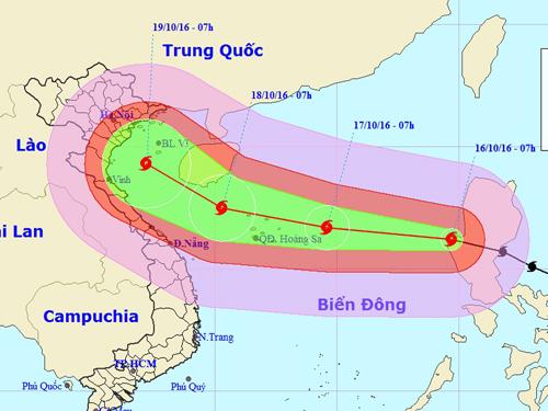 Vị trí và hướng di chuyển của bão Sarika - Nguồn: Trung tâm dự báo khí tượng thủy văn Trung ương