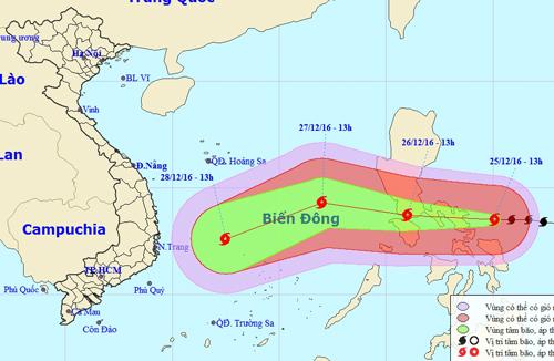 Dự báo vị trí và đường đi của bão Nock-ten - Ảnh: Trung tâm Dự báo khí tượng thủy văn trung ương