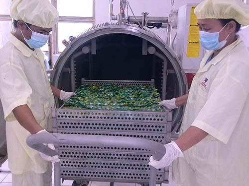Một trong những công đoạn chế biến trứng cút của Vietfarm