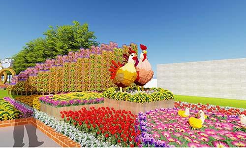 Cổng đường hoa với linh vật của năm 2017 tại Hội Hoa Xuân KCN Hiệp Phước