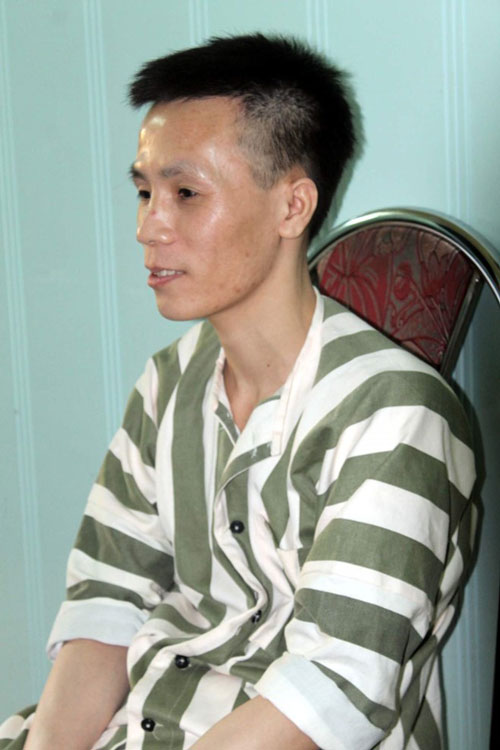 Tử từ Lê Xuân Trường lúc còn ở trại tạm giam. (Ảnh do cơ quan công an cung cấp)