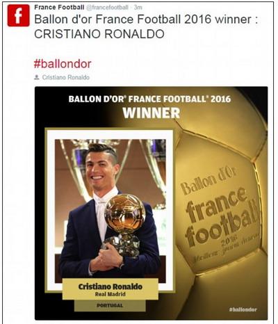 France Football công bố kết quả trên trang mạng