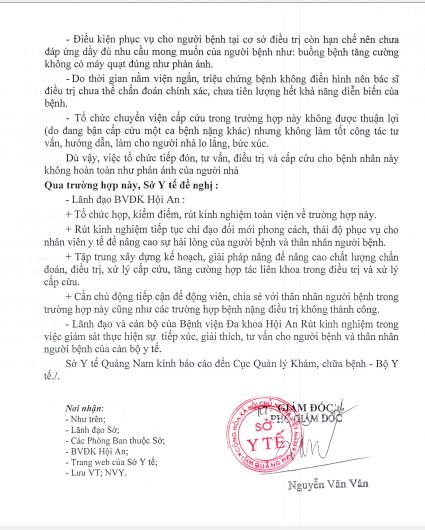 Toàn văn báo cáo của Sở Y tế tỉnh Quảng Nam