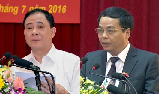 Bí thư Tỉnh ủy Yên Bái Phạm Duy Cường (trái) và Chủ tịch HĐND tỉnh, kiêm Trưởng ban Tổ chức Tỉnh ủy Yên Bái Ngô Ngọc Tuấn (phải)