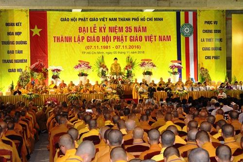 Quang cảnh đại lễ kỷ niệm 35 năm thành lập Giáo Hội Phật giáo Việt Nam. Ảnh: Bảo Nghi