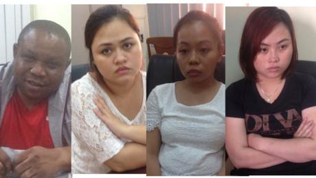 Micheal, Bình, Uyển và Nhi bị bắt giữ (từ trái qua). Ảnh: Công an cung cấp