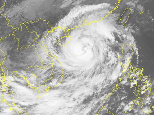 Ảnh mây vệ tinh cơn bão số 7 - Nguồn: Trung tâm dự báo khí tượng thủy văn Trung ương