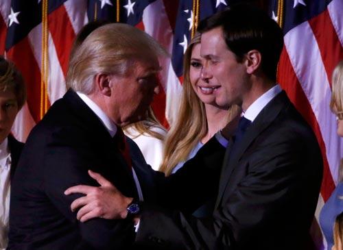 Tổng thống Mỹ đắc cử Donald Trump (trái) và con rể Jared Kushner Ảnh: Reuters