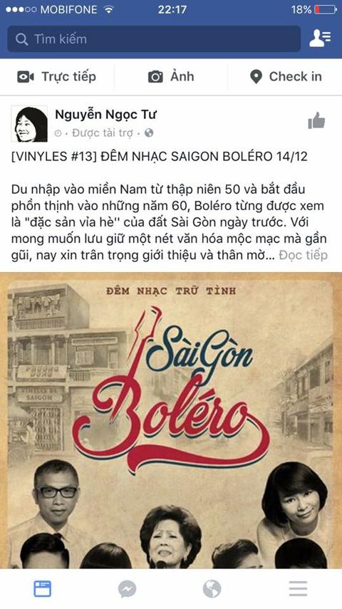 Hình ảnh chụp lại từ trang fanpage mạo danh Nguyễn Ngọc Tư quảng cáo show ca nhạc