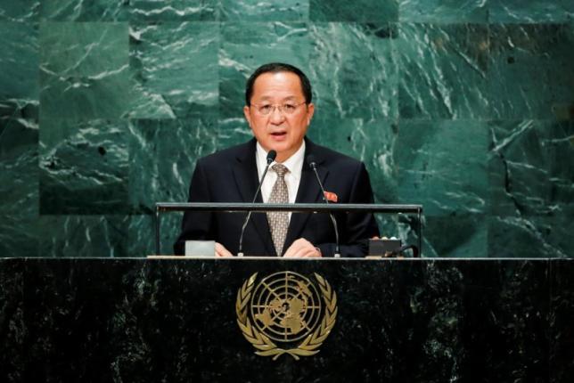 Ngoại trưởng Triều Tiên Ri Yong-ho phát biểu hôm 23-9. Ảnh: Reuters