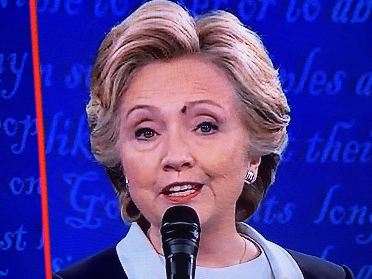 Con ruồi đậu trên mặt bà Clinton. Ảnh: Twitter