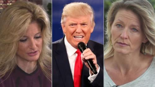 Ông Trump (giữa) và hai nạn nhân mới nhất, Summer Zervos (bìa trái) và Kristin Anderson (bìa phải). Ảnh: Sky News