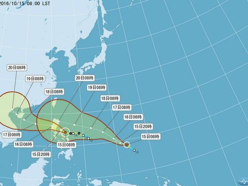 Bão Haima bám đuổi bão Sarika. Nguồn: Cục Thời tiết Đài Loan
