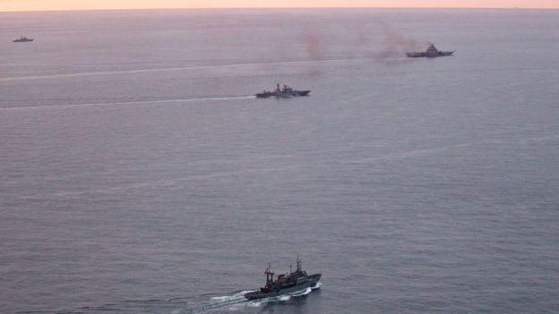 Các tàu Nga trong tấm hình do phía Na Uy chụp được. Ảnh: Quân đội Na Uy