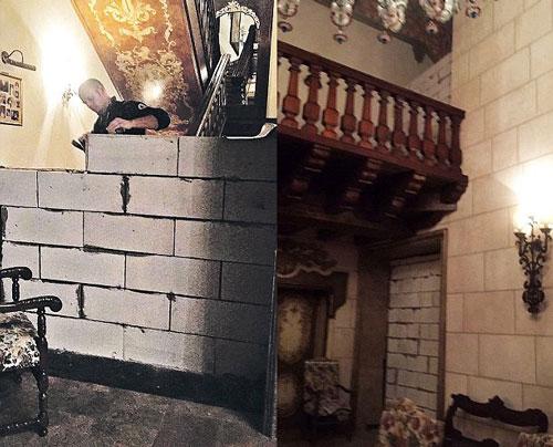 Người chồng xây một bức tường ngay chân cầu thang khiến vợ không thể lên tầng. Ảnh: The Sun.