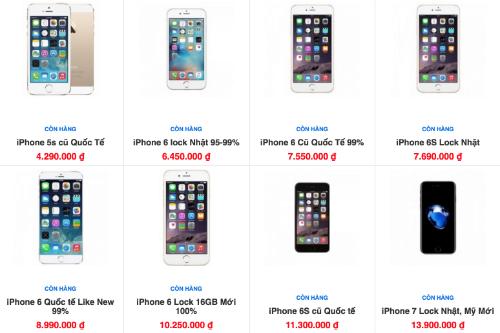 iPhone 6s hàng Nhật khoá mạng được rao bán với giá rẻ như iPhone 6 qua sử dụng.